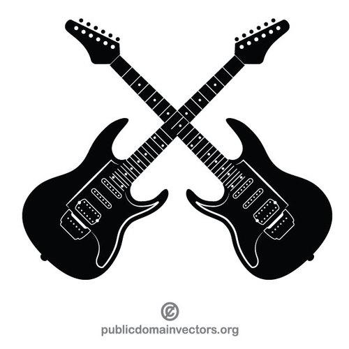 Electric guitars vector clip art.