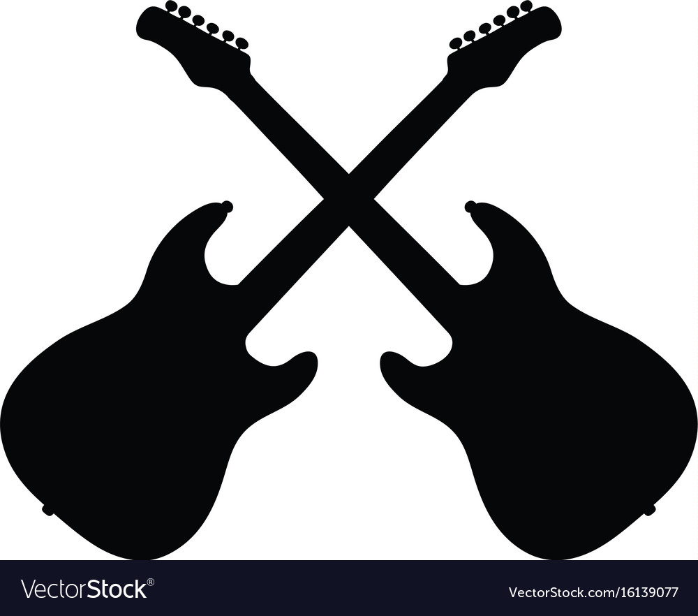 Black silhouettes of electric guitars.