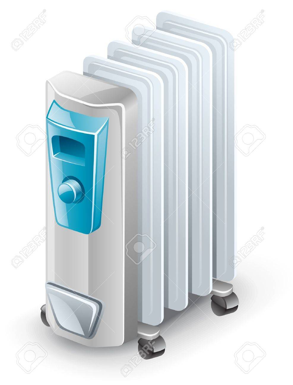 Vector illustration of electric oil heater on white background.