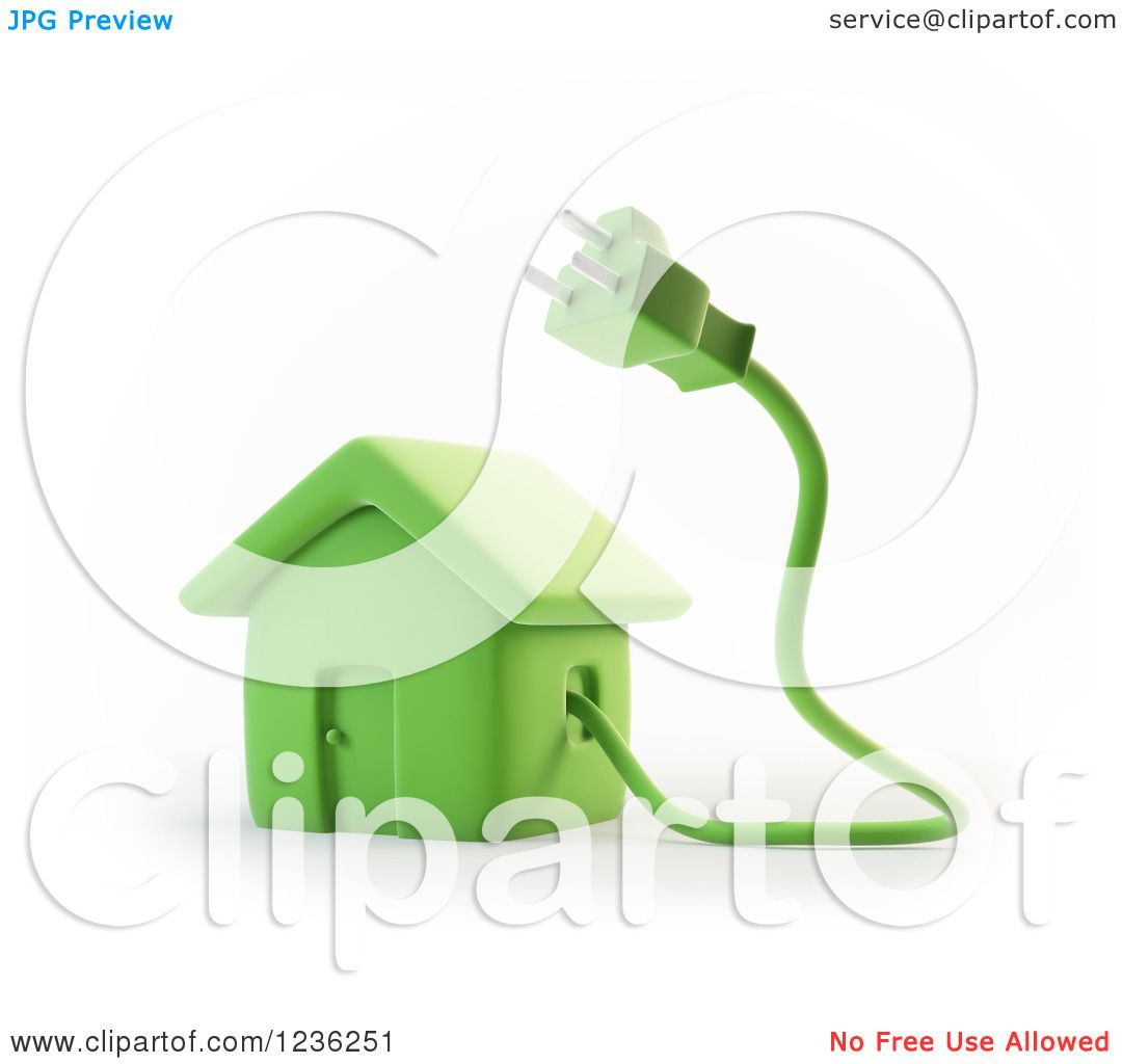 Clipart of a 3d Green House with an Electric Plug.