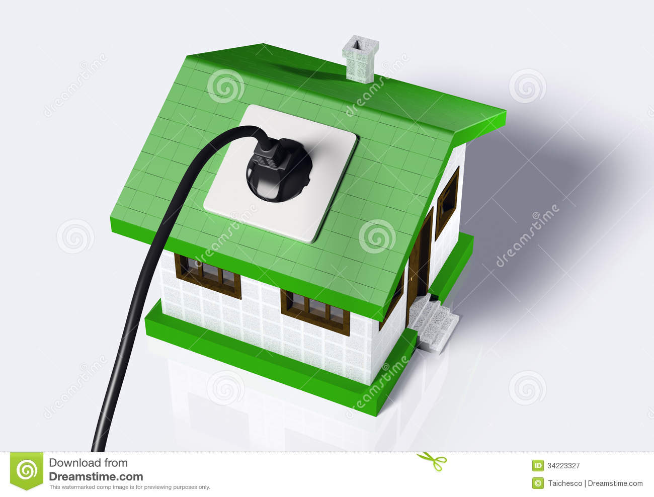 Small House Connected To The Electric Current Royalty Free Stock.
