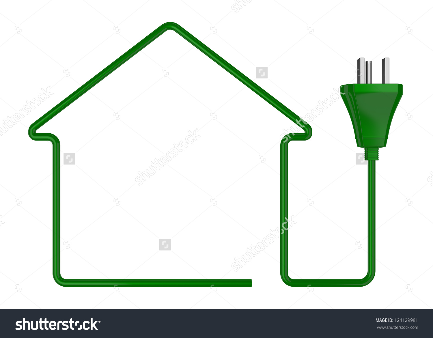 One Stylized House Made Electric Cable Stock Illustration.