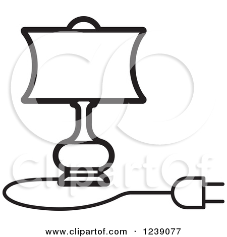 Clipart of a Black and White Electric Lamp with a Shade 3.