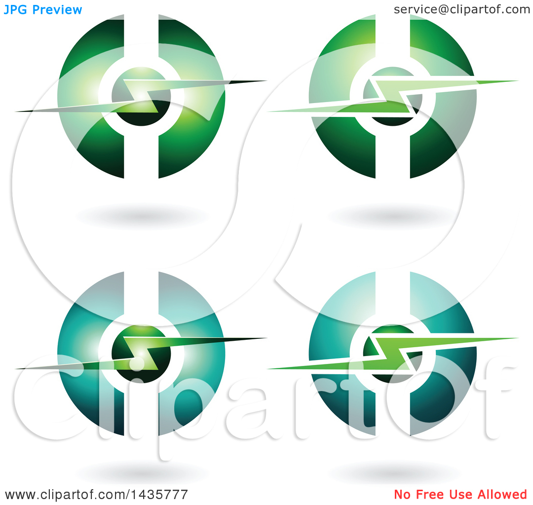Clipart of Horizontal Electric Lighting Bolt and Sphere Icons with.