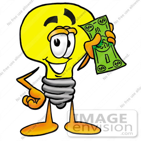 Clip Art Graphic of a Yellow Electric Lightbulb Cartoon Character.