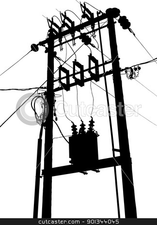 Electric transformer substation stock vector.