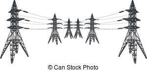 Silhouette power line electric pylon Vector Clipart Royalty Free.