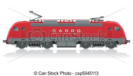 Vectors of Red modern electric locomotive.
