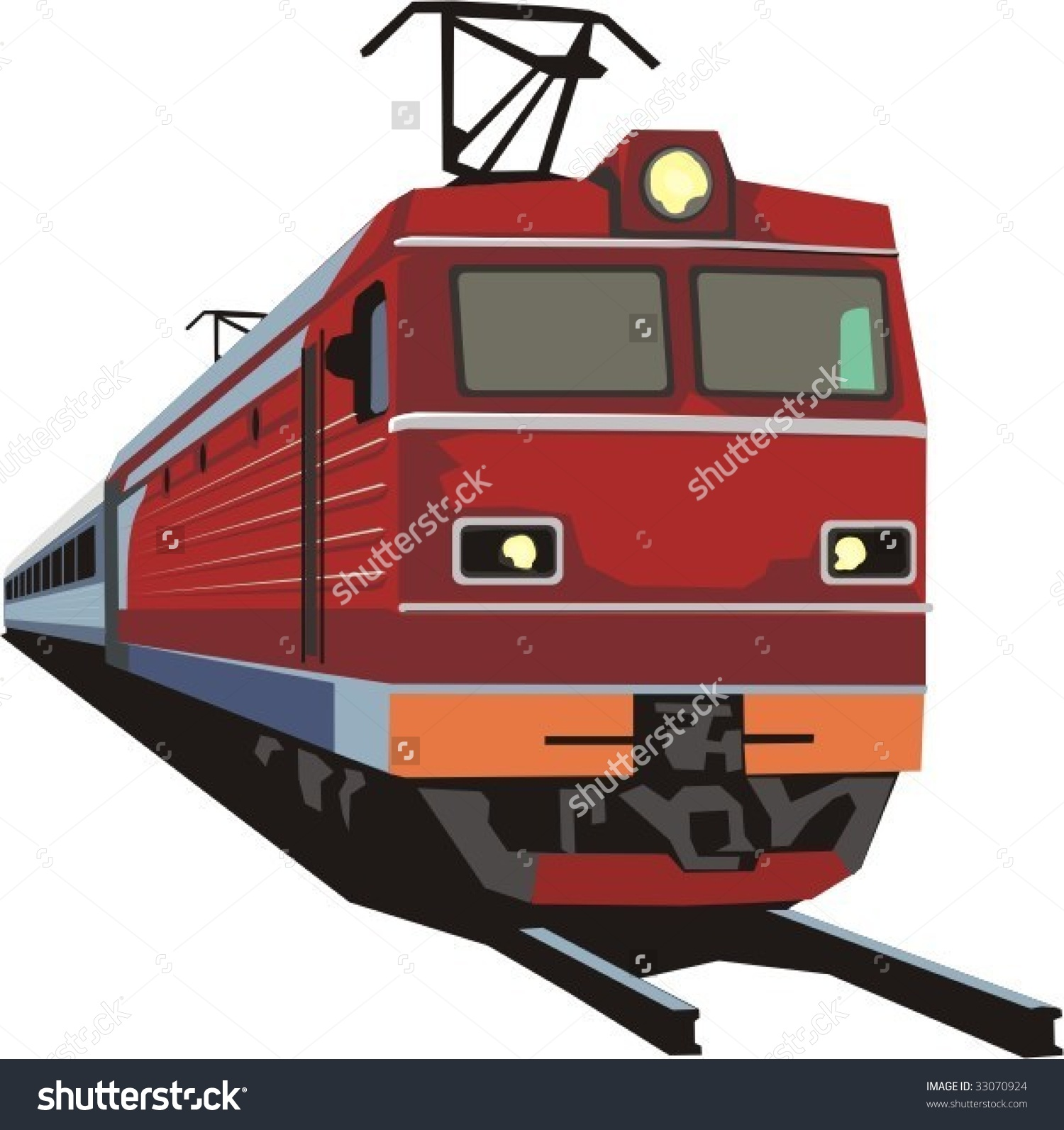 Passenger Railway Train Stock Vector 33070924.
