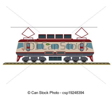 EPS Vectors of Electric locomotive isolated on white. EPS10.
