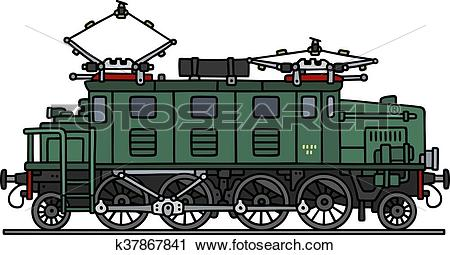 Clipart of Old green electric locomotive k37867841.