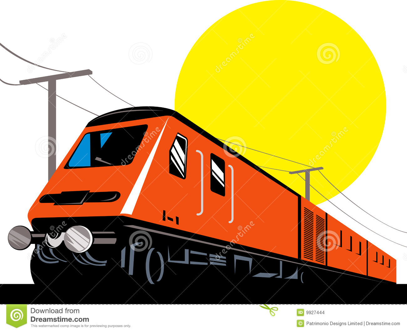 Modern train engine clip art.