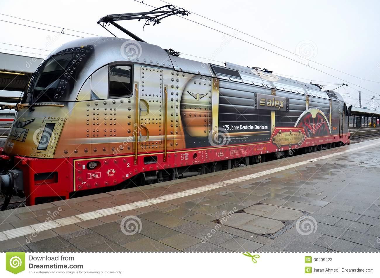 German Electric Train Locomotive Engine Munich Germany Editorial.