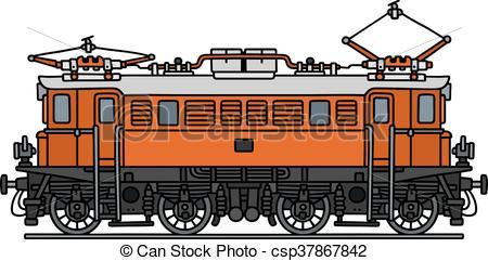 EPS Vector of Old orange electric locomotive.