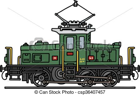 Clipart Vector of Old electric locomotive.