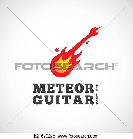 Clipart of Meteor Guitar Vector Concept Symbol Icon or Logo.