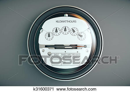 Analog electricity meter showing household consumption. power meter watt  energy KWh Clip Art.