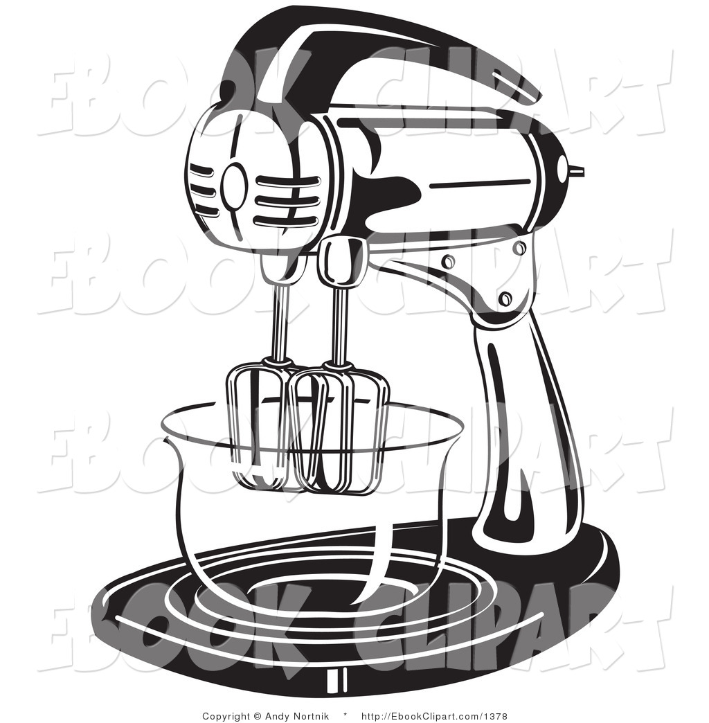 Vector Clip Art of a Black and White Electric Mixer in a Kitchen.