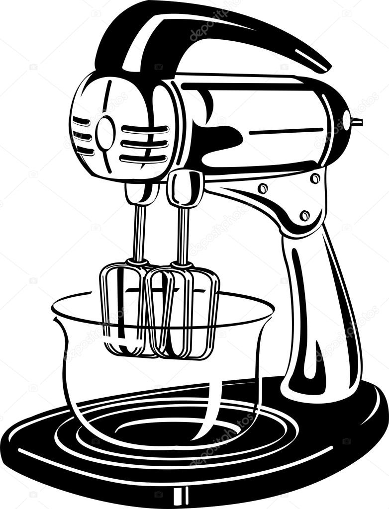 White clipart picture of an electric mixer in a kitchen — Stock.