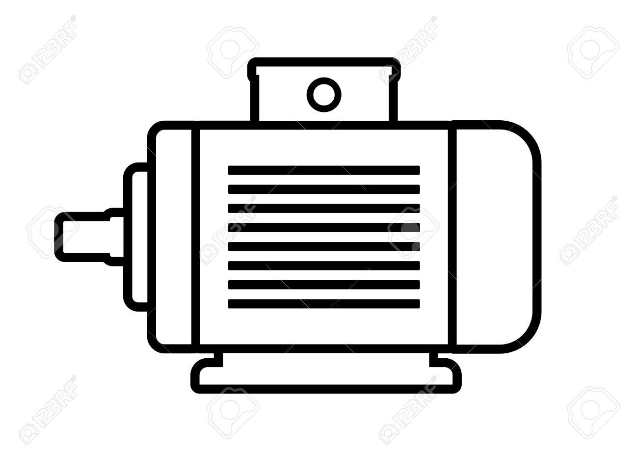 Electric Motor Icon On White Background Royalty Free Cliparts.