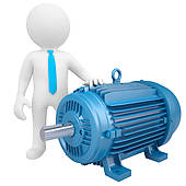 Man and an electric motor clipart.
