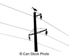 Vector Clipart of vector silhouette of the crane on electric pole.