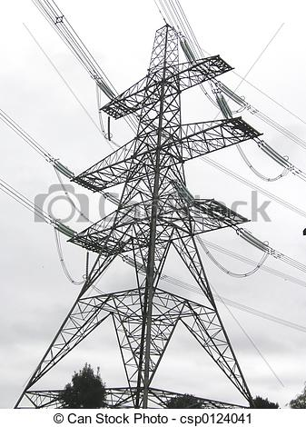 Stock Photography of electricity pylon transporting electric.