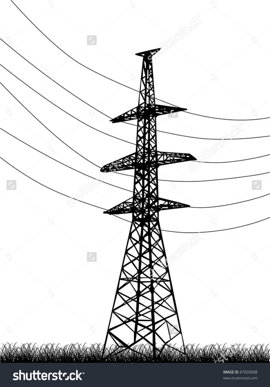 Illustration Electrical Pylon Isolated On White Stock Vector.