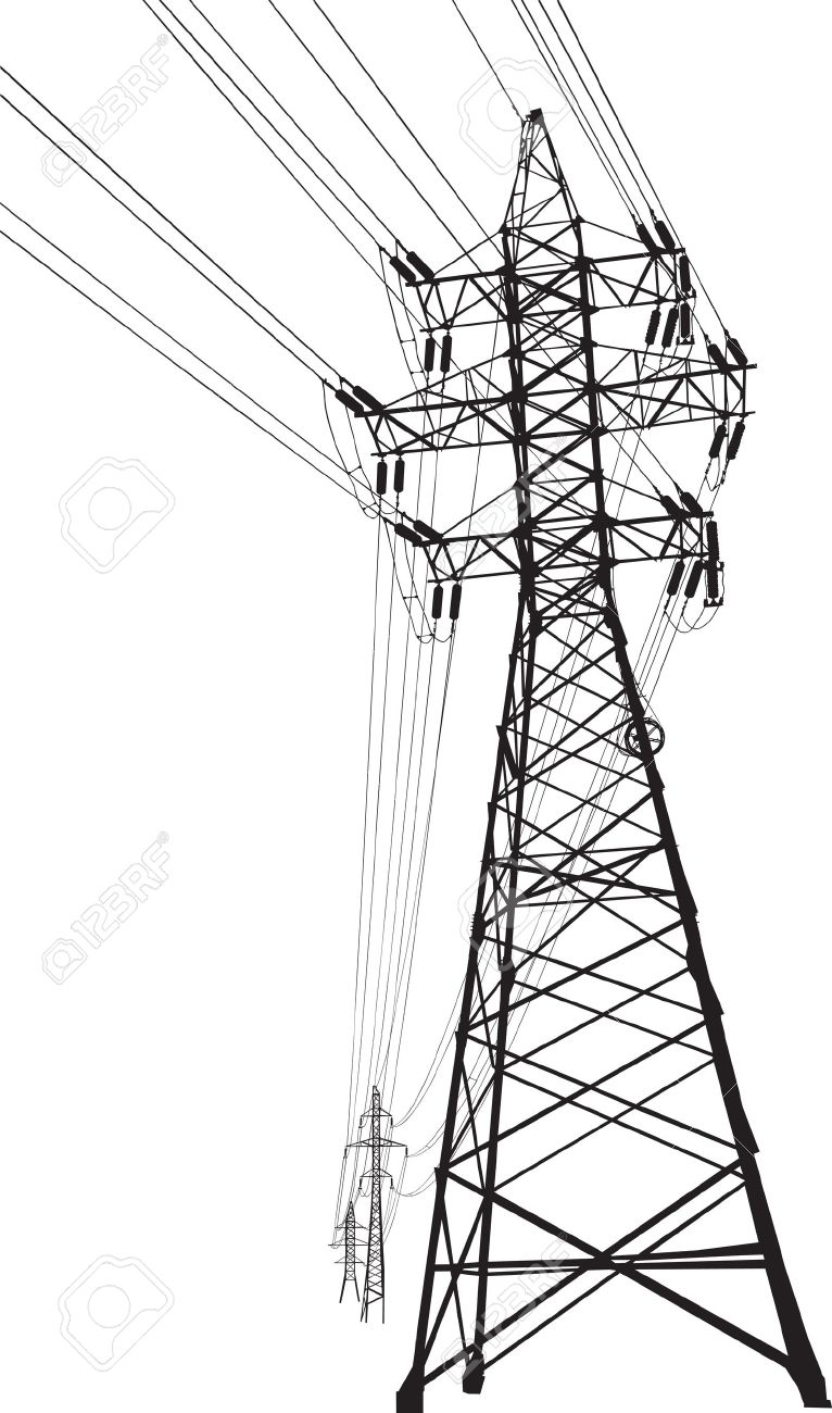 Silhouette Of High Voltage Power Lines And Pylon Royalty Free.
