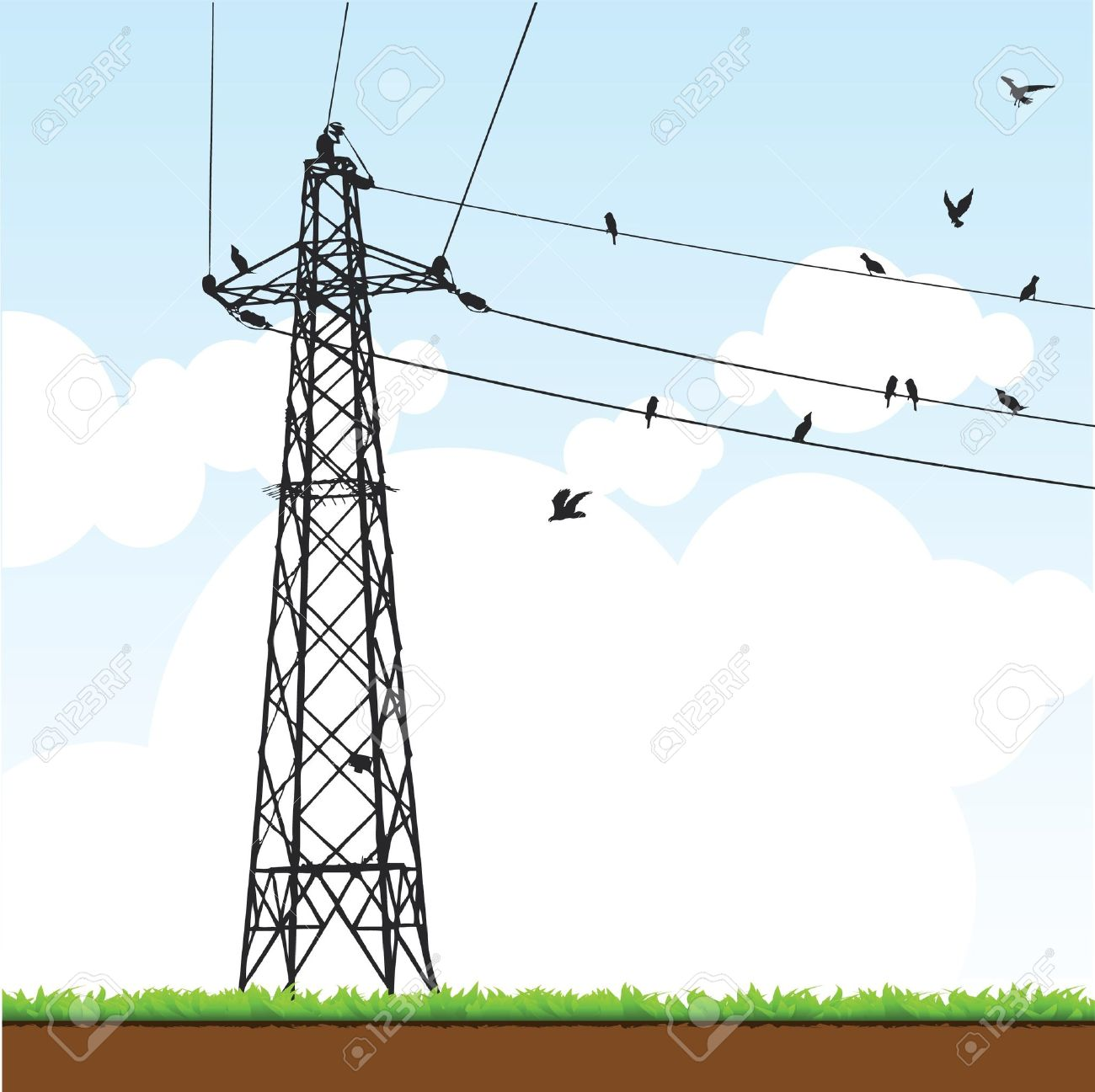 Electricity Pylon Royalty Free Cliparts, Vectors, And Stock.