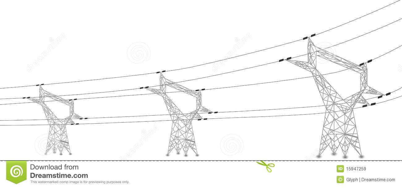 Silhouette Of Power Lines And Electric Pylons Royalty Free Stock.