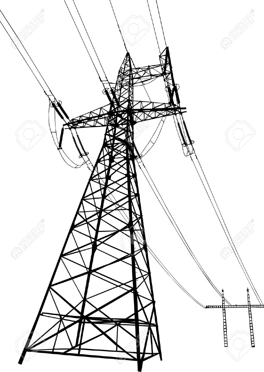 Vector Silhouette Of Power Lines And Electric Pylons Royalty Free.
