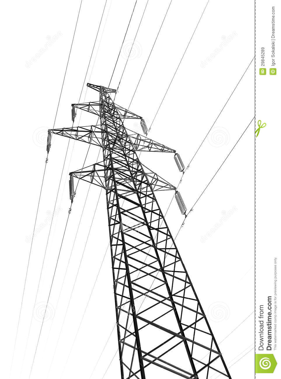 Pylon Tower Power Line Isolated White Royalty Free Stock Images.