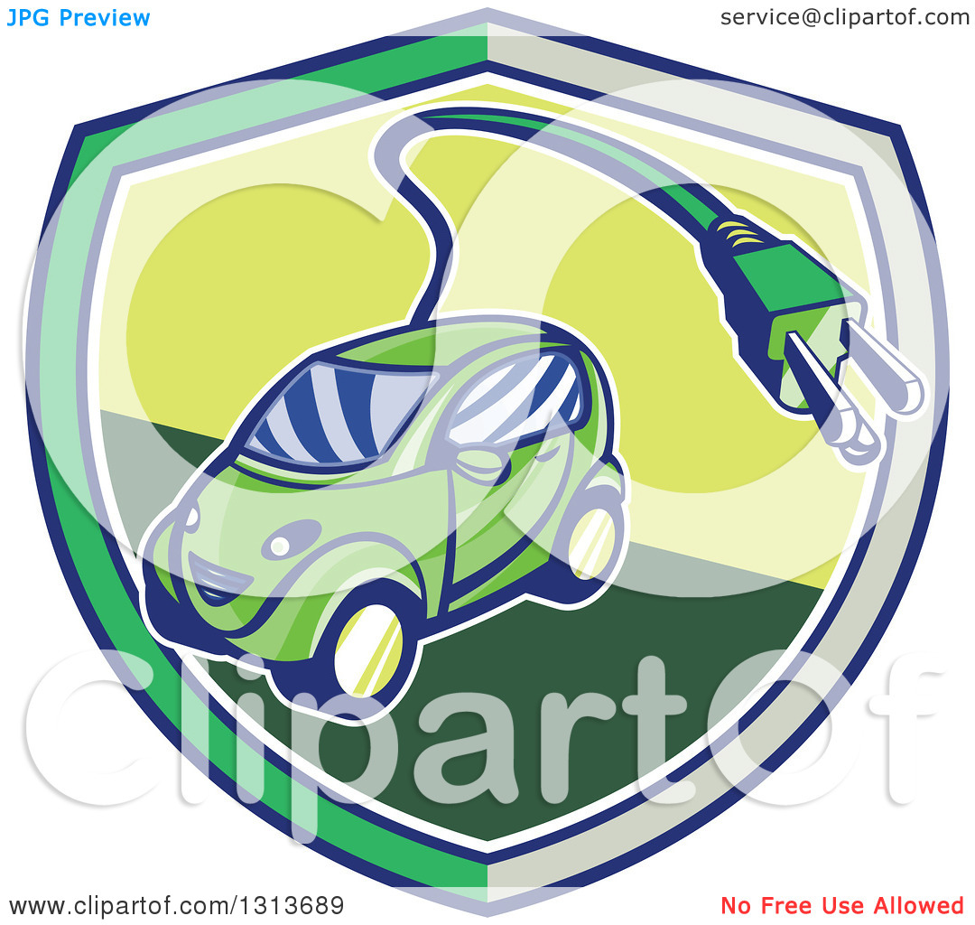 Clipart of a Retro Cartoon Hybrid Electric Car with a Plug in a.
