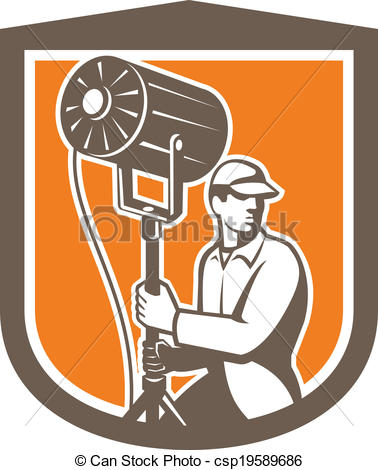 Vector of Electrical Lighting Technician With Spotlight Shield.
