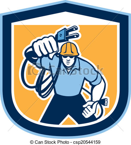 Clipart Vector of Electrician Carrying Electric Plug Cord Shield.