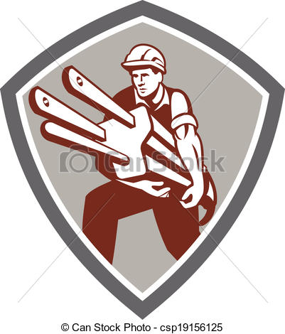 Vector Illustration of Electrician Carrying Electric Plug Shield.