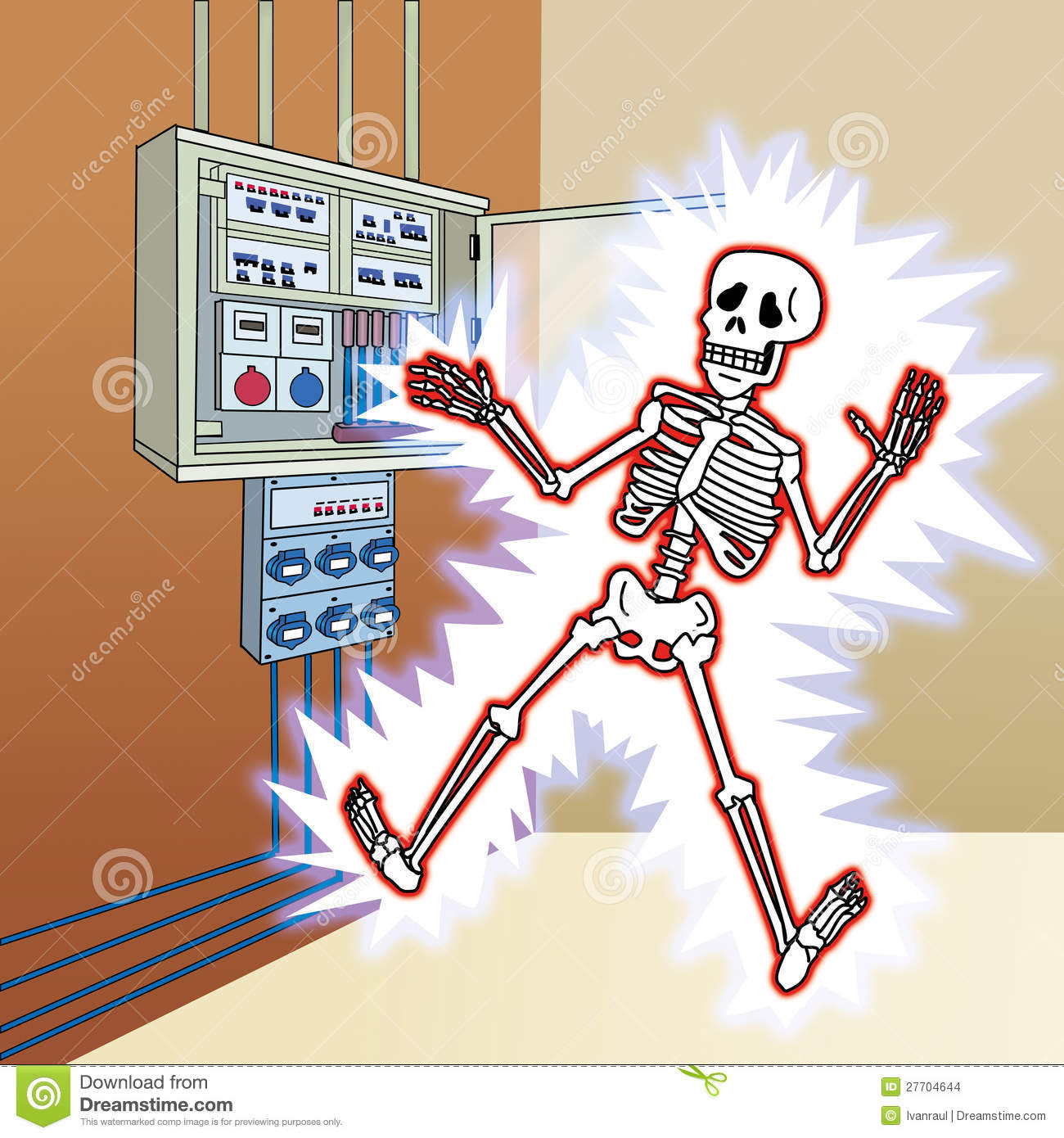 Skeleton With Electric Shock At The Control Panel Stock Images.