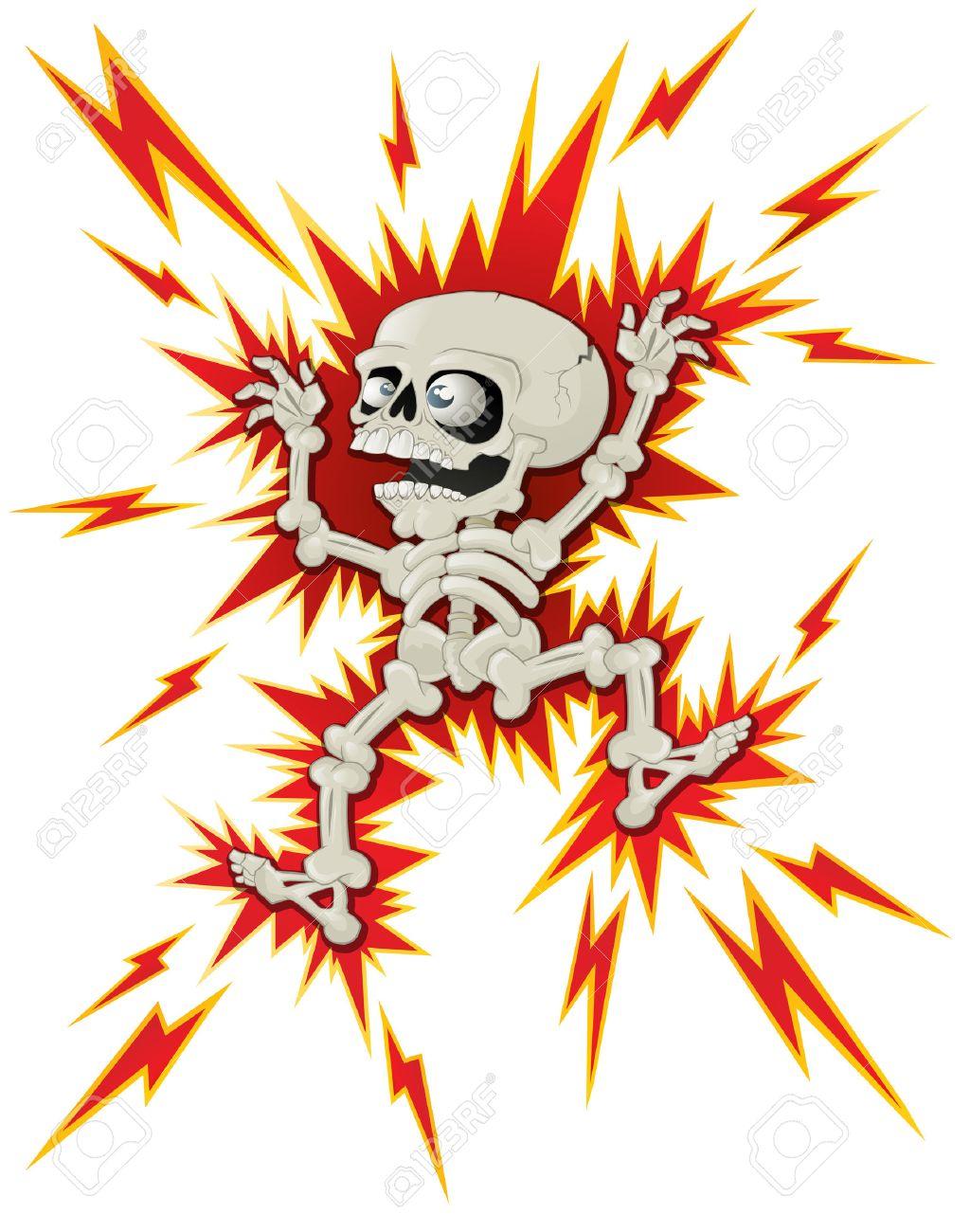 Halloween Skeleton gets a Shock.