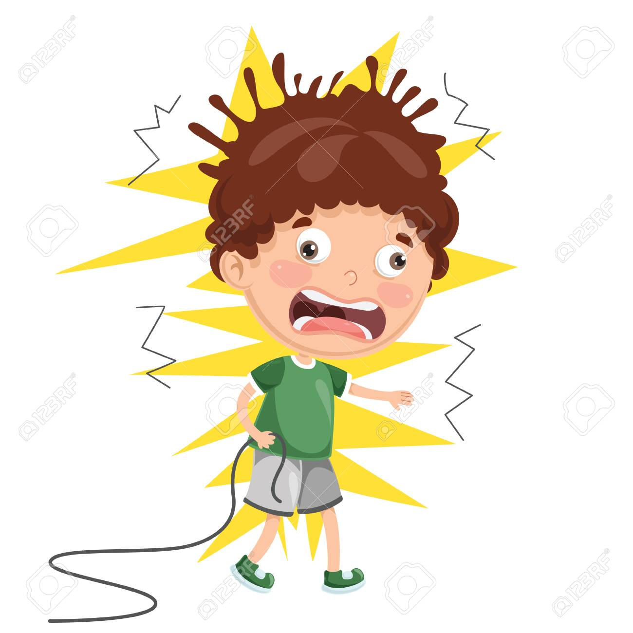 Vector Illustration Of Kid With Electric Shock.