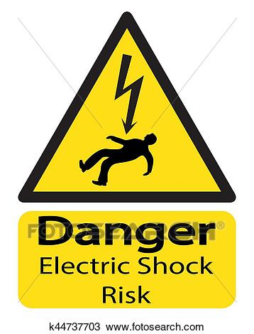 Electric Shock Risk Sign With Man Clipart.