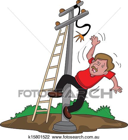 Vector of man falling from ladder after an electric shock. Clipart.