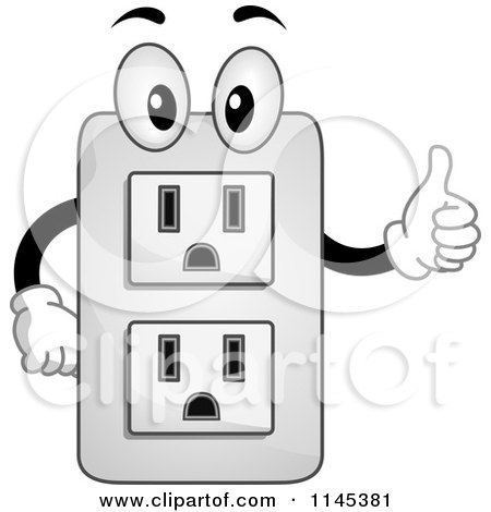Cartoon of an Electrical Socket Mascot Holding a Thumb up.