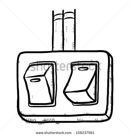 Electric Switch On Cartoon Vector Illustration Stock Vector.