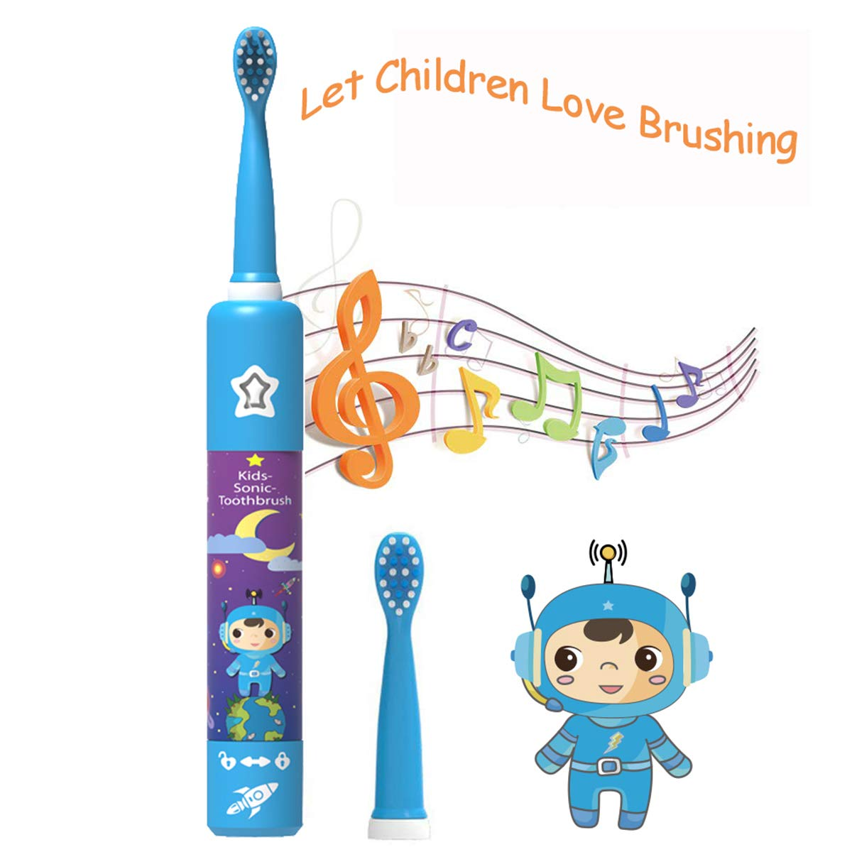 Kids Electric Toothbrush Rechargeable USB Charging Powered Up to 30 Days,  Smart Timer 3 Modes Waterproof Travel Sonic Toothbrushes 2 Brush Heads Soft.