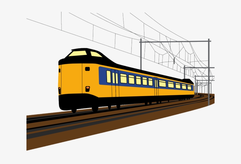 Railroad Tracks Clipart Modern Train.