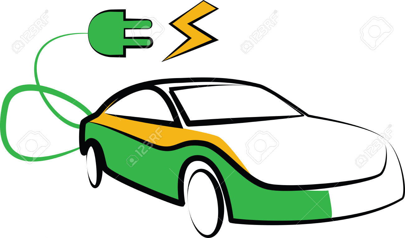 Modern Electric Car Silhouette. Electric Car Vector Illustration.