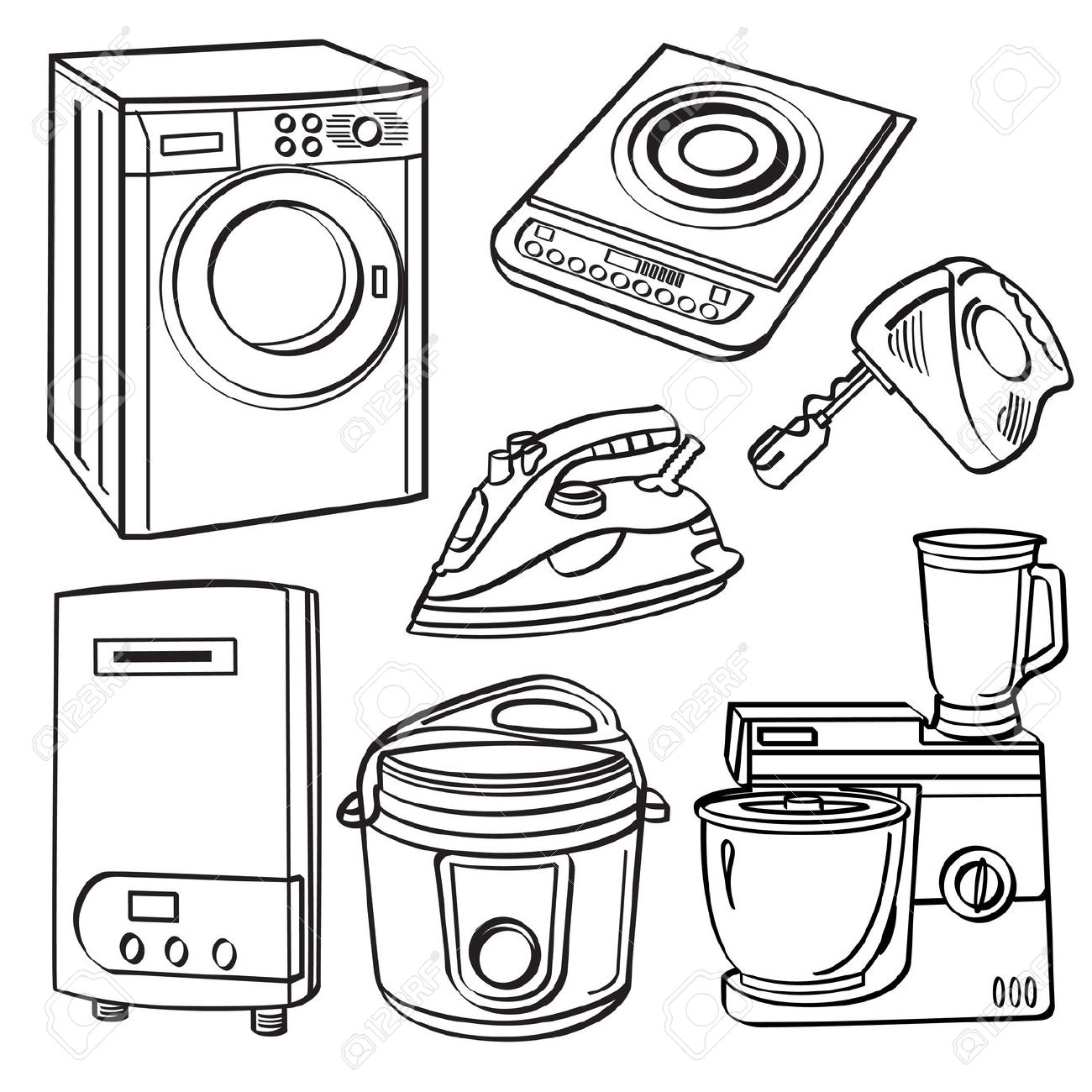 Home Electric Appliances Royalty Free Cliparts, Vectors, And Stock.