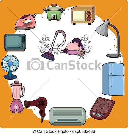 Clip Art Vector Of Cartoon Home Appliance Card Csp6382436