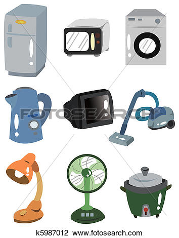 Clipart of Home appliances illustrations set k13463635.